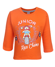 Pink Rabbit Fleece T-Shirt Full Sleeve With Junior Print - Orange