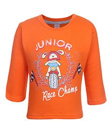 Pink Rabbit Fleece T-Shirt Full Sleeve With Junior Print - Orange