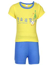 Paaple Half Sleeves T-Shirt And Shorts Yellow - France Print