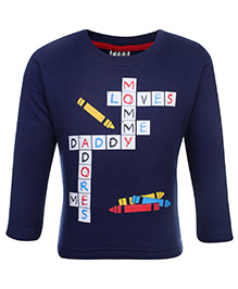 Fido Fleece T-Shirt Full Sleeves With Print - Navy Blue