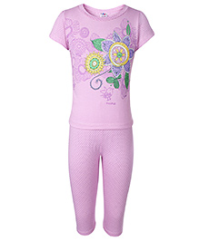 Paaple Short Sleeves Night Suit With Floral Print - Purple