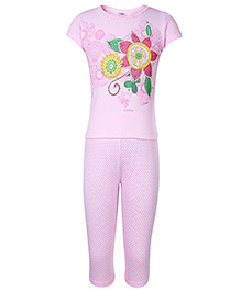 Paaple Short Sleeves Night Suit With Floral Print - Pink