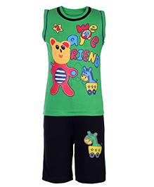 Babyhug T-Shirt Sleeveless And Shorts Set - Green