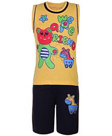 Babyhug T-Shirt Sleeveless And Shorts Set - Yellow