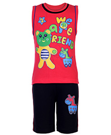 Babyhug T-Shirt Sleeveless And Shorts Set - Red