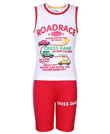 Babyhug Sleeveless T-Shirt And Shorts - Road Race Print