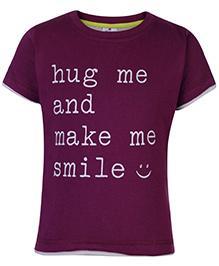 Ollypop T-Shirt Half Sleeves Purple - Hug Me Print