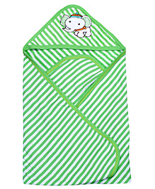 Pink Rabbit Hooded Stripe Bath Towel With Elephant Patch - Green