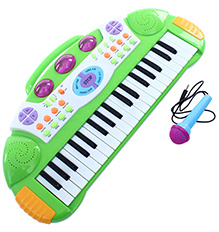 Fab N Funky Baby Electronic Keyboard Piano With Microphone - Green - 25 X 51 X 6 Cm