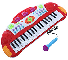 Fab N Funky Baby Electronic Keyboard Piano With Microphone - Red - 25 X 51 X 6 Cm