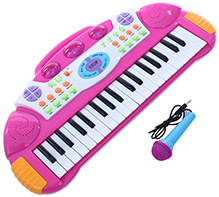 Fab N Funky Baby Electronic Keyboard Piano With Microphone - Pink - 25 X 51 X 6 Cm