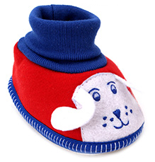 Sapphire Booties Dog Face Embroidery - Red