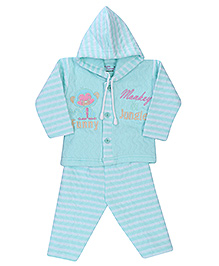Little Darling Full Sleeves Hooded T-Shirt With Legging Set - Funny Monkey Embroidery - 3 To 6 Months