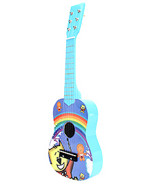 Fab N Funky Wooden Baby Guitar Blue - Lion And Cat Print