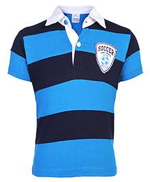 Ollypop Half Sleeves Polo T-Shirt Stripe Pattern - Soccer Club