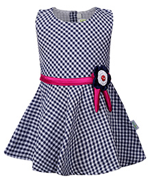 Babyhug Sleeveless Frock With Floral Applique - Navy Blue and Pink