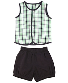 ShopperTree Sleeveless Check Top With Shorts - Multicolour