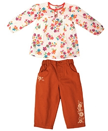 ShopperTree Print Top With Patch Work Trouser Twill