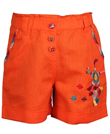 ShopperTree Linen Shorts With Embroidery - Orange