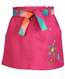 ShopperTree Linen Skirt With Embroidery and Belt - Pink