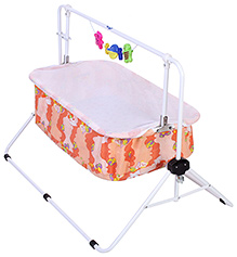 Infanto Comfy Cradle With Mosquito Net Teddy Print - Orange