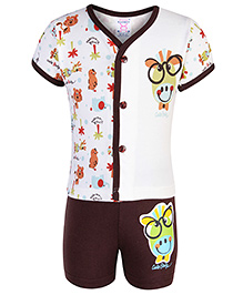 Pink Rabbit T-Shirt Half Sleeves And Shorts Set - Cream And Brown