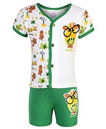 Pink Rabbit T-Shirt Half Sleeves And Shorts Set - Cream And Green