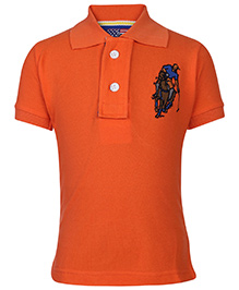 New York Polo Academy Half Sleeves T-Shirt With Logo - Orange