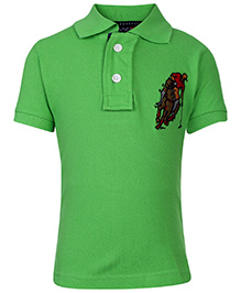 New York Polo Academy Half Sleeves T-Shirt With Logo - Green