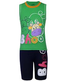 Babyhug Sleeveless T-Shirt And Shorts Green - Animal Theme