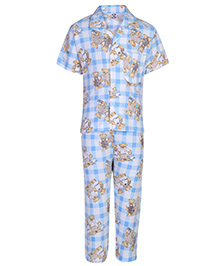 Fido Nightsuit Half Sleeves Bear Print - Blue