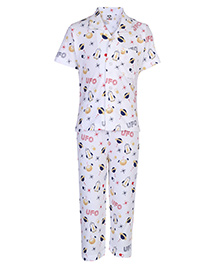 Fido Nightsuit Half Sleeves UFO Embroidery - White