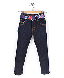 New York Polo Academy Full Length Denim Jeans With Belt - 3 To 4 Years