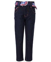 New York Polo Academy Full Length Denim Jeans - Dark Blue - 4 To 5 Years