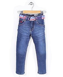 New York Polo Academy Full Length Denim Jeans With Belt