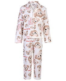 Fido Night Suit Full Sleeves - Teddy Bear Print