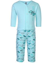 Cucumber Vest And Leggings Set Puppy Print - Aqua Blue