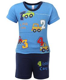 Pink Rabbit T-Shirt Half Sleeves And Shorts Set - Blue