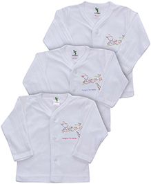 Cucumber Thermal Vests Bunny Print White - Set of 3