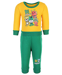 Cucumber Full Sleeves T-Shirt And Leggings - Yellow And Green