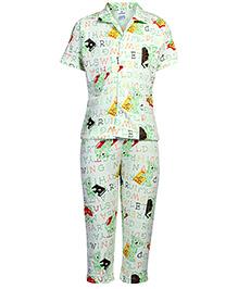 Ollypop Nightsuit Half Sleeves Bear Print - Green
