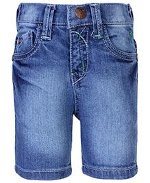 Palm Tree Denim Shorts - Blue