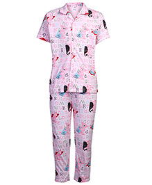 Ollypop Nightsuit Half Sleeves Bear Print - Dark Pink