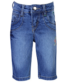 Palm Tree Denim Pedal Pusher - Flower Embroidery