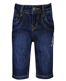 Palm Tree Denim Pedal Pushers Flower Embroidery - Blue