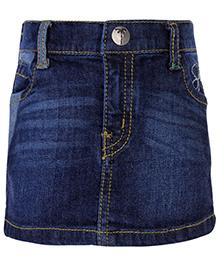 Palm Tree Denim Skirt - Blue