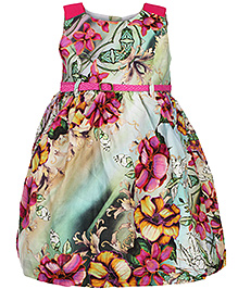 Yellow Duck Sleeveless Party Frock Floral Print - Pink