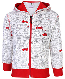 Cucumber Hooded Sweatshirt Cars Print - Red And White