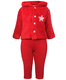 Tappintoes Full Sleeve Hooded Woolen Suit - Star Patch