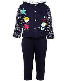 Tappintoes Full Sleeve Hooded Winter Wear Suit - Navy Blue